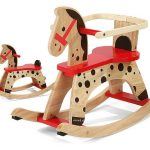 Wooden Rocking Horses For Toddlers WIth Polcadot Pattern