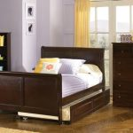 Wooden Sleigh bed frame in dark brown finish with additional trundle
