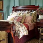 Wooden bed frame with wood framed upholstery headboard Lake House bedding set