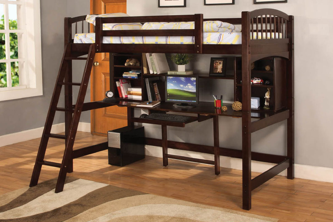 Wooden Loft Bed With Built In Desk Ladder And Bookshelf Dark Brown Finishing
