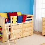 Wooden toddler size bed idea with drawer system and built in ladder and also side railing system