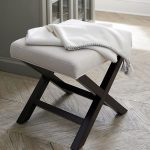 X shape wood base vanity bench with white upholstery seat
