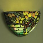battery operated wall light fixture with colorful stained glass lampshade