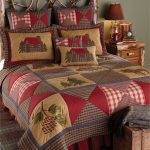 lake house bedding idea rustic bed frame and rustic bedside table