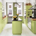 light green hue for kitchen cabinet system and kitchen island black top kitchen island wood top kitchen counter white framed kitchen windows pure white color paint for walls white ceramic floor