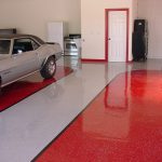 Amazing Garage Finishing Ideas With Red White Floor Painting