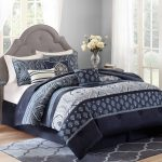 Awesome Dark Blue Better Homes and Garden Comforter Sets And Rug With White Curtains