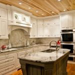 Awesome Wood Ceiling Planks In Kitchen With White Kitchen Set And Marble Countertop