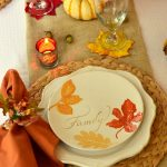 Beautiful Thanksgiving Dinnerware Sets With Leaves Design And Double Glasses