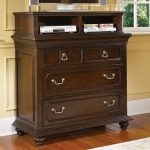Beautiful Wooden Tall Media Chest With Double Small Drawers Big Drawers And Racks