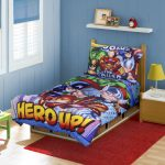 Best Superhero Bedding Sets With Red Rug Wall Shelf And Side Table