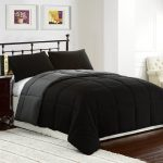 Black Comforter Sets For Men With White Rug And Hardwood Floor