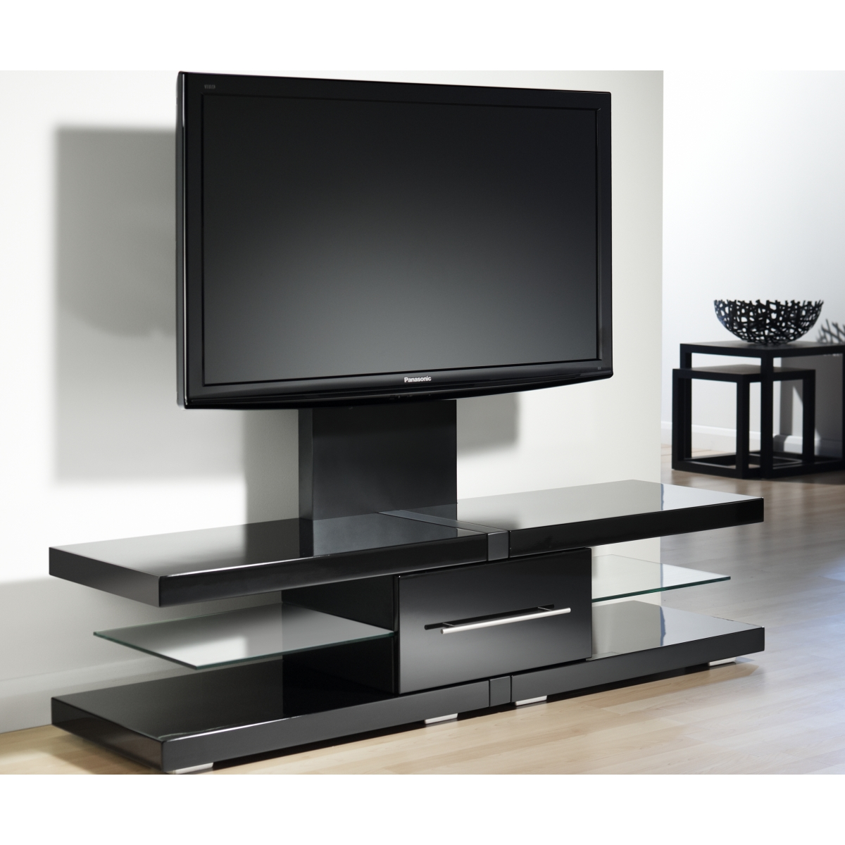 Black Design Flat Screen Tv Stands With Mount