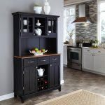 Black Wooden Baker Rack With Drawers And Cabinet Inside Kitchen White Set Natural Rug
