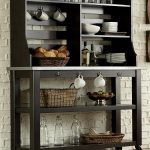 Black Wooden Kitchen Baker Rack WIth Cups Glass Fruit Baskets