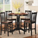 Black Wooden Space Saver Dining Set With Round Table
