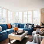 Blue Sectional Sofa With Pillows For Sofas Decorating And Double Stripped Chair