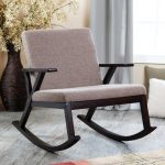 Brown Modern Rocking Chair For Nursery With Wooden Bases