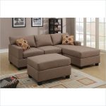 Brown Poundex Bobkona Modular Sectional With Stylish Pillows And Rug