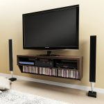 Brown Wooden Floating Flat Screen TV Stands With Mount And Media Shelf