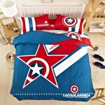 Captain America Superhero Bedding Sets With Wooden Shelves And Side Table