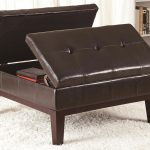 Cheap Leather Brown Large Square Storage Ottoman For Books