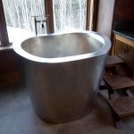 Chromed Finished Of Japanese Soaking Tub Kohler With Wooden Stairs