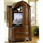 Classic TV Hutch With Doors And Double Drawers With Flat TV Inside