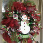 Colorful Red And Green Pictures Of Christmas Wreaths With Snowman