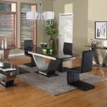 Comfortable Trendy Granite Dining Table Set With Unique Chairs And Grey Fur Rug
