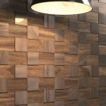 Contemporary Dark Wood Wall Covering Near Standing Lamp