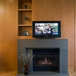 Contemporary Fireplace Designs Layout With Grey Kit And Wooden Wall