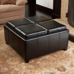 Cool Leather Brown Of Large Square Storage Ottoman