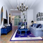 Cozy Blue Living Room With Striped Black And White Sofa Blue Table Classic Style Rug Chandelier Blue Cabinet Below TV