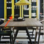 Dark Wooden Ikea Stockholm Dining Table With Yellow Cabinet And Chandelier