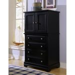 Dark Wooden TV Hutch With Doors With Many Drawers And Squared Pattern Rug