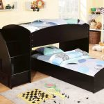 Dark Wooden Toddler Bunk Beds With Stairs Drawers Double Bed Fur Rug And White Shelves Corner