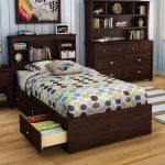 Dark Wooden Twin Bed With Drawers Underneath And Cabinet Plus Polcadot Bed