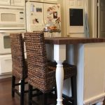 Double Seagrass Counter Stools Without Arm With White Table And Kitchen Cabinet