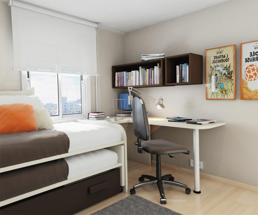 simple small bedroom desks homesfeed 18640 | elegant small bedroom desks with wooden book storage and double bed