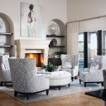 Four Grey High Back Chairs For Living Room With White Ottoman Rug White Fireplace And Long Curtain