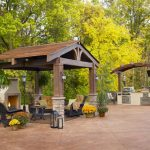 Gazebo Plans With Fireplace With Bearn Pergola And Patio Furniture