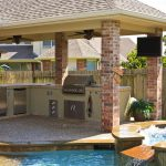 Gazebo Plans With Fireplace With Outdoor Kitchen Set Near Pool