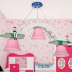 Girly Pink Chandelier For Girls Room With Unique Design