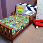 Green Ninja Turtles Superhero Bedding Sets With Wooden Bed Frame