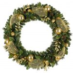 Green Pictures Of Christmas Wreaths With Gold Design