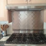 Grey Ikea Stainless Steel Backsplash Near Stove And Under Wooden Kitchen Cabinet