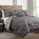 Grey White Comforter Sets For Men With Round Rug