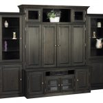 Huge Dark Wooden TV Hutch With Doors Racks For Accessories And Drawers