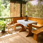 Ikea Bamboo Blinds For Balcony With Wooden Bench And Table